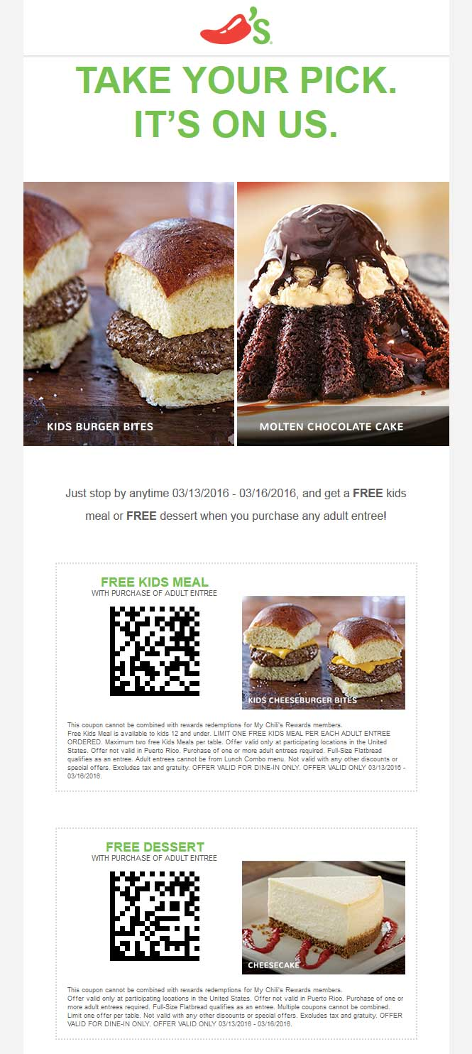 Chilis Coupon February 2018 Free dessert or kids meal with your entree at Chilis