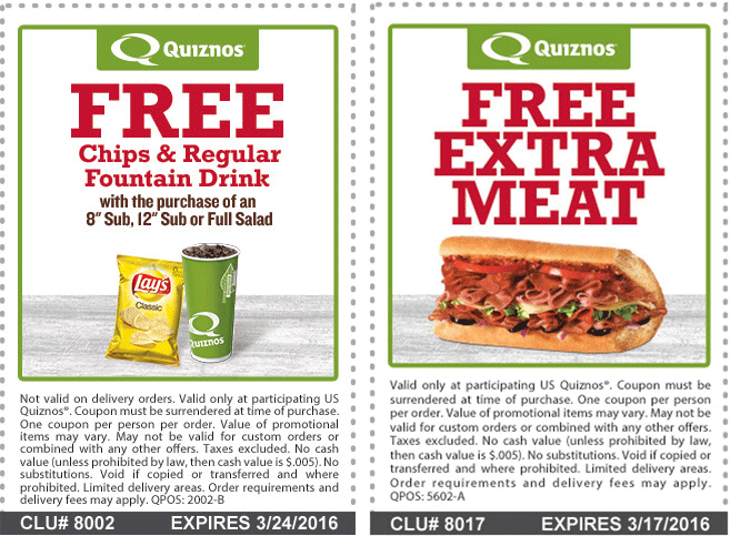Quiznos Coupon November 2017 Chips & drink free with your sub or salad at Quiznos