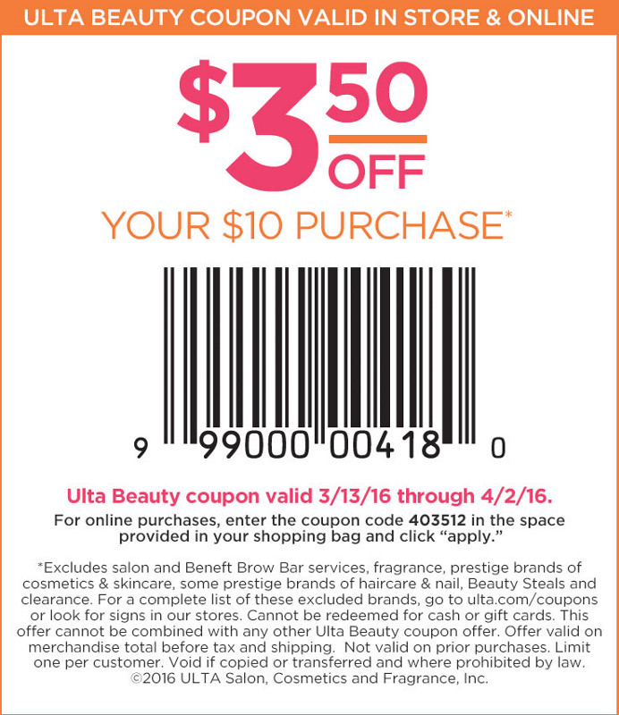 Ulta Coupon July 2018 $3 off $10 at Ulta Beauty, or online via promo code 403512