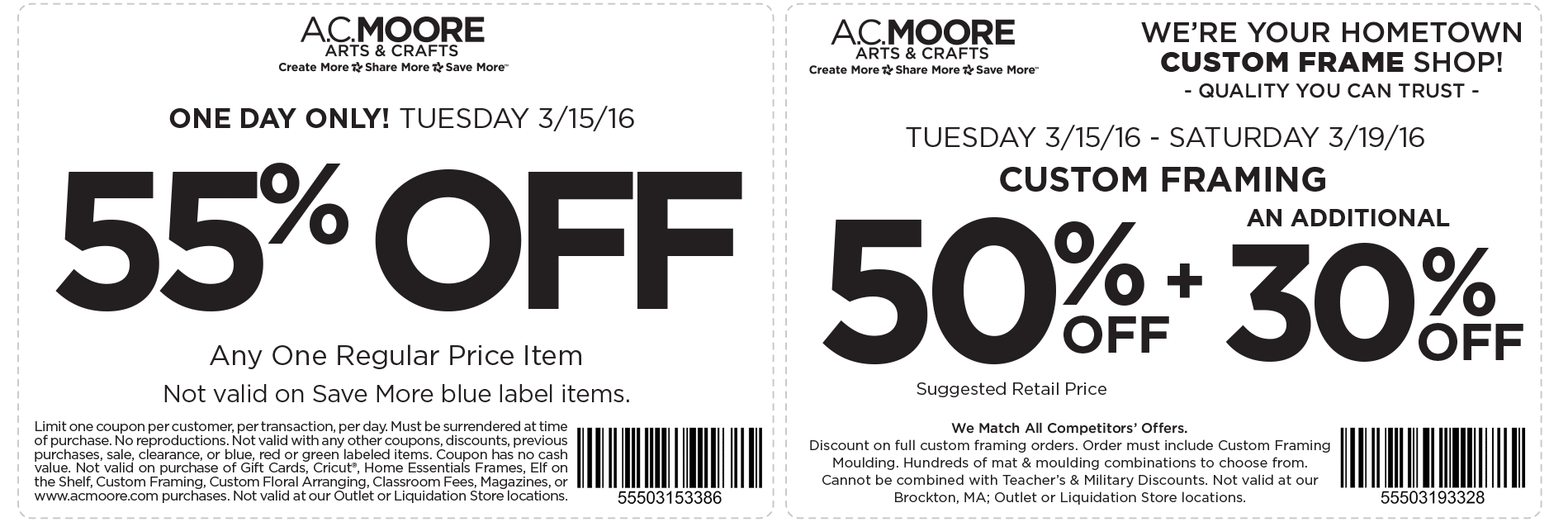 A.C. Moore Coupon December 2017 55% off a single item today at A.C. Moore