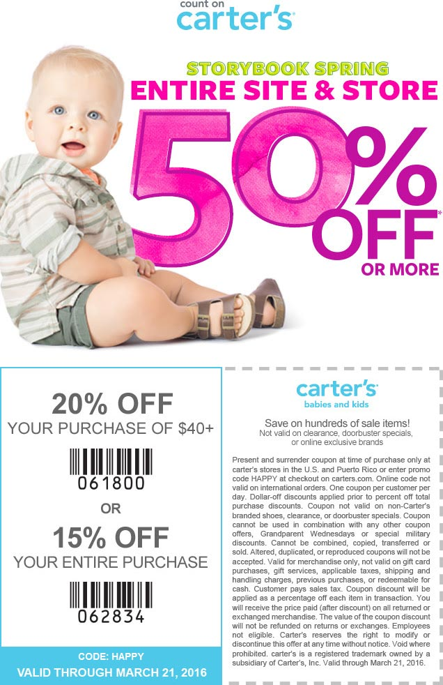 Carters Coupon October 2016 Everything is 50% off + another 15-20% at Carters, or online via promo code HAPPY
