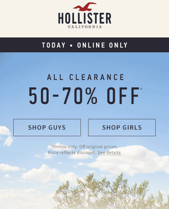 Hollister Coupon May 2017 Extra 50-70% off clearance online today at Hollister