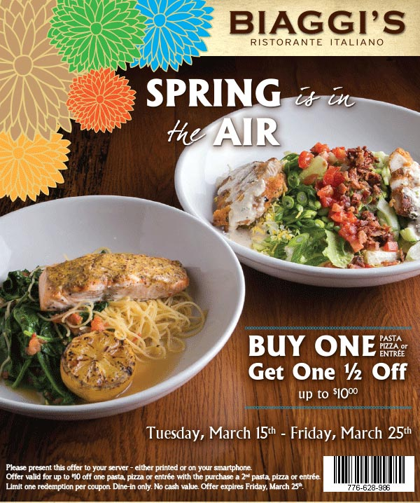 Biaggis Coupon February 2017 Second entree 50% off at Biaggis Italian restaurants