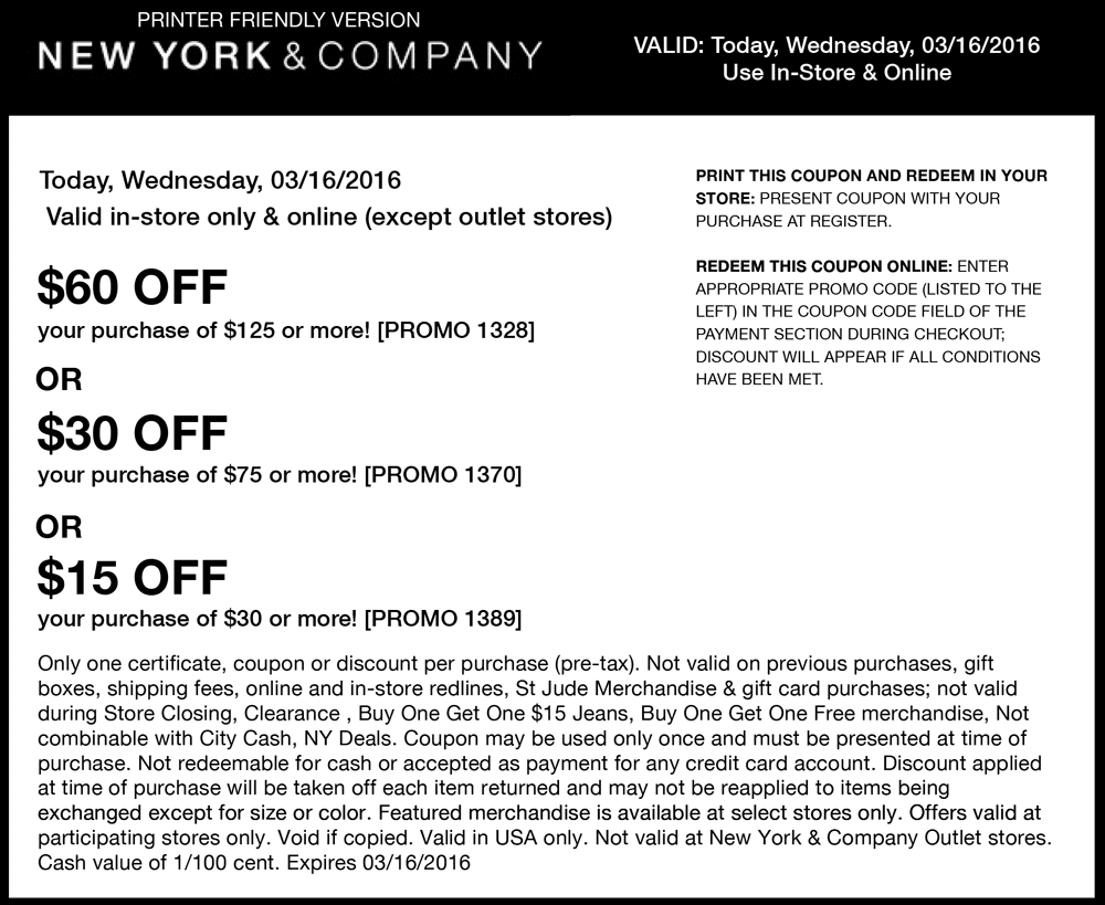 New York & Company Coupon January 2018 $15 off $30 & more today at New York & Company, or online via promo code 1389