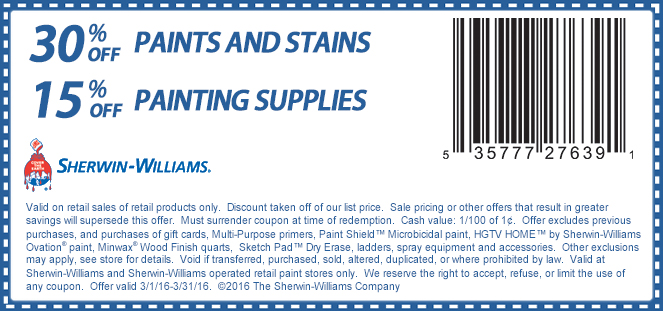 Sherwin Williams Coupon January 2018 30% off paints & stains at Sherwin Williams