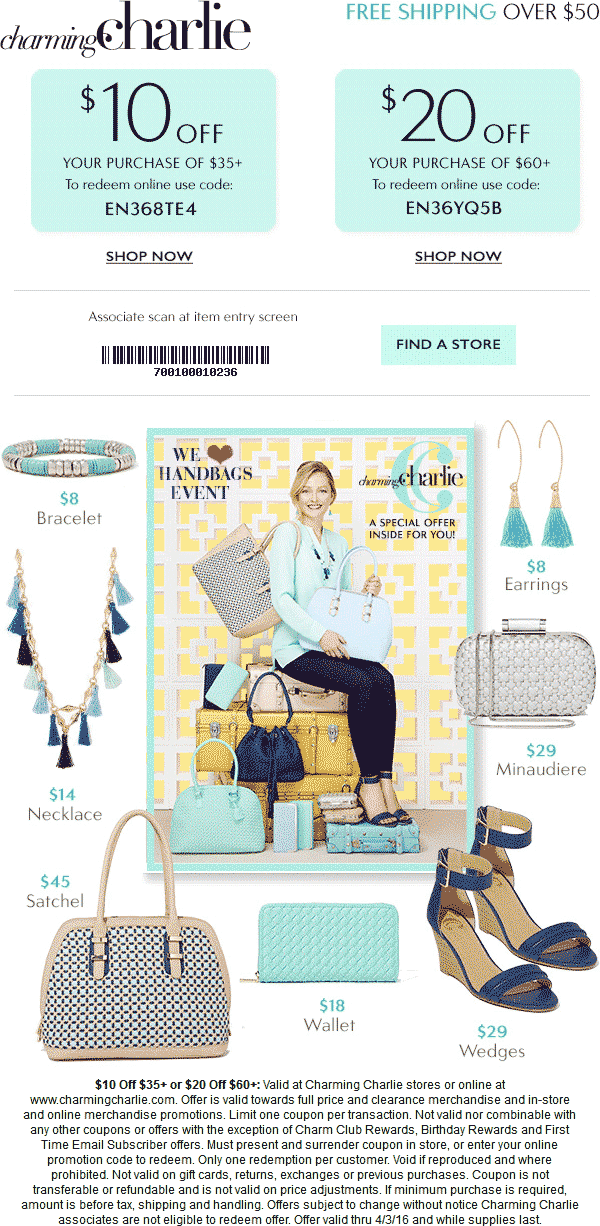 Charming Charlie Coupon March 2018 $10 off $35 & more at Charming Charlie, or online via promo code EN368TE4