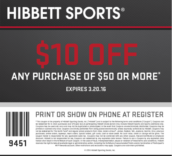 Hibbett Sports Coupon April 2019 $10 off $50 at Hibbett Sports