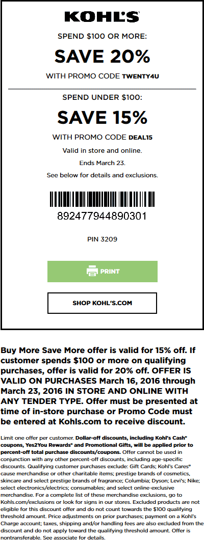 Kohls Coupon February 2019 15-20% off at Kohls, or online via promo code DEAL15