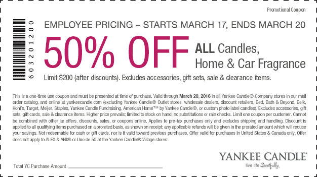 Yankee Candle Coupon August 2017 50% off all candles & fragrance at Yankee Candle, ditto online