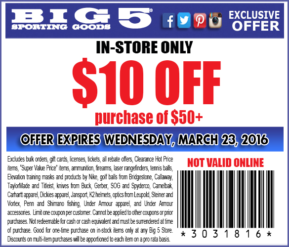Big 5 Coupon March 2017 $10 off $50 at Big 5 sporting goods