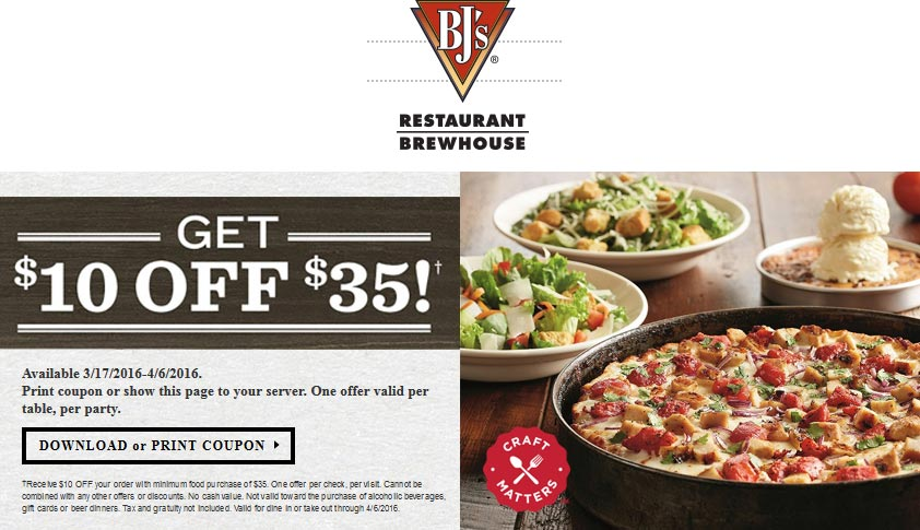 BJs Restaurant Coupon January 2017 $10 off $35 at BJs Restaurant brewhouse