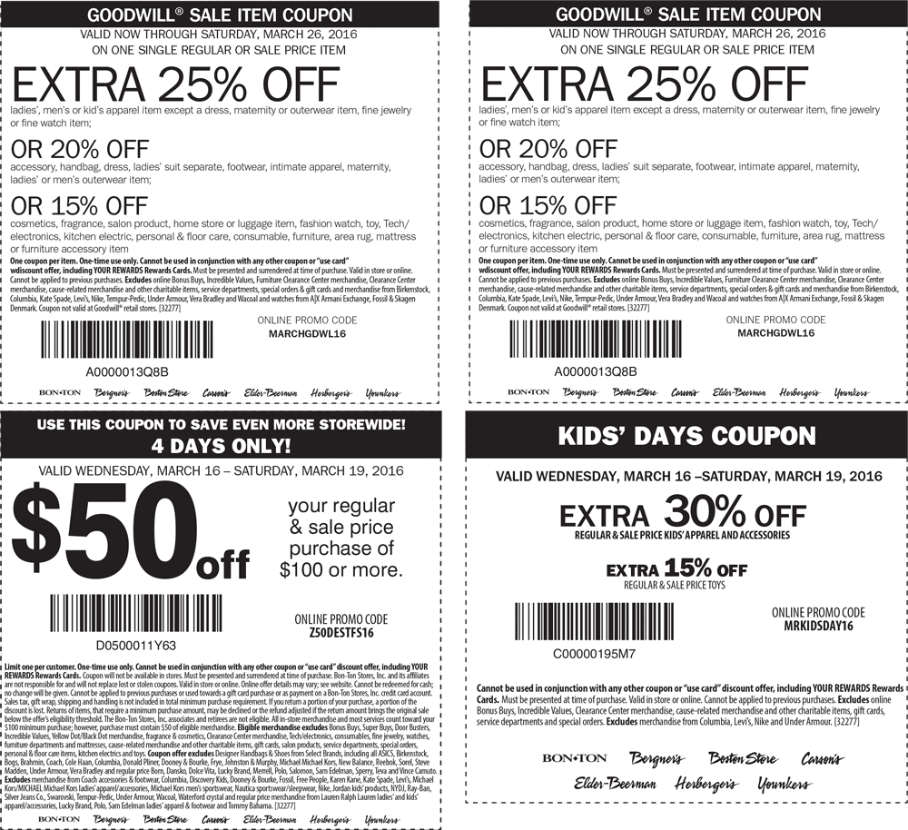 Carsons Coupon March 2017 $50 off $100 & more at Carsons, Bon Ton & sister stores, or online via promo code Z50DESTFS16