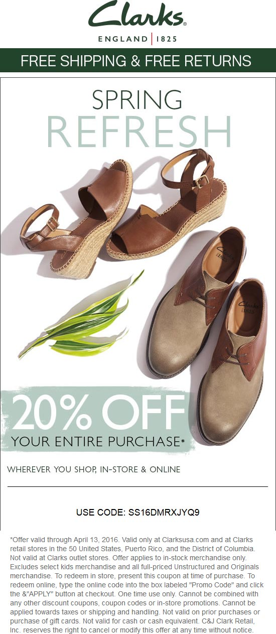 Clarks Coupon February 2017 20% off at Clarks, or online via promo code SS16DMRXJYQ9
