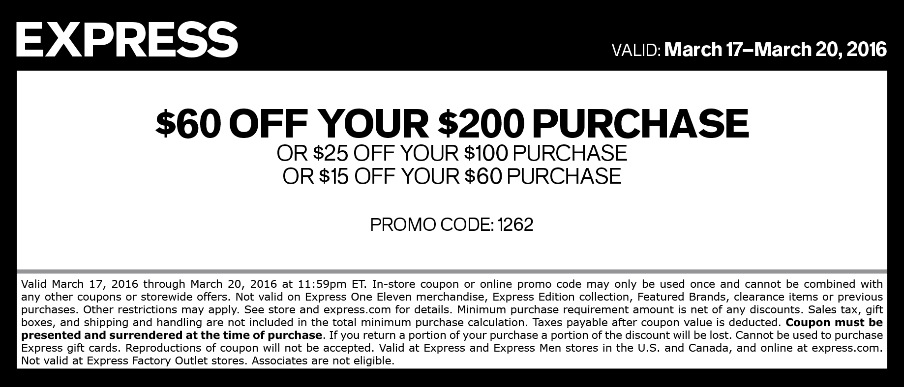 Express Coupon July 2018 $15 off $60 & more at Express, or online via promo code 1262