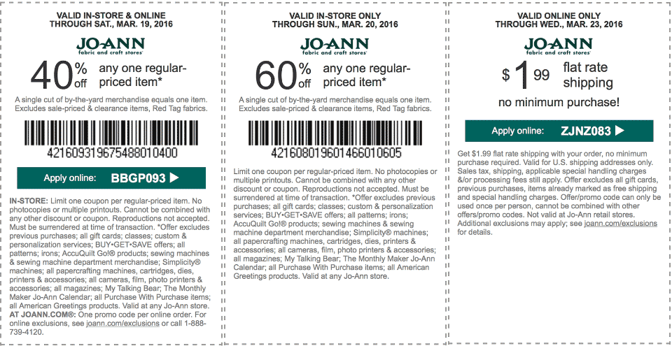Jo-Ann Fabric Coupon November 2018 60% off a single item at Jo-Ann Fabric