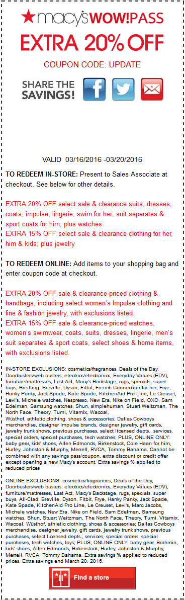 Macys Coupon October 2016 Extra 15-20% off at Macys, or online via promo code UPDATE