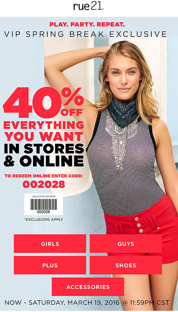 Rue21 Coupon March 2018 40% off everything today at rue21, or online via promo code 002028
