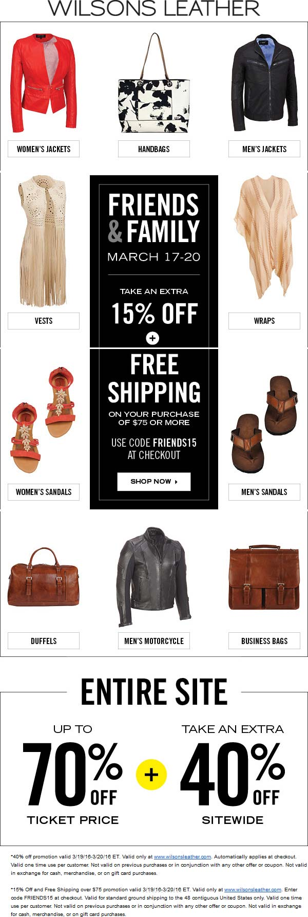 Wilsons Leather Coupon January 2017 15% off & more at Wilsons Leather, or 40%+ online via promo code FRIENDS15