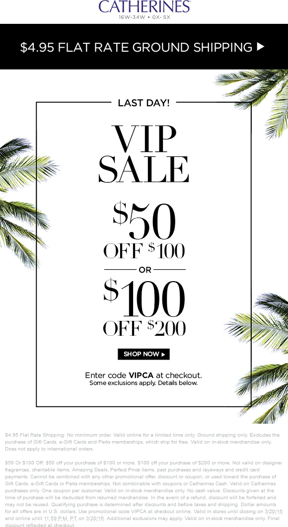 Catherines Coupon July 2018 $50 off $100 & more today at Catherines, ditto online