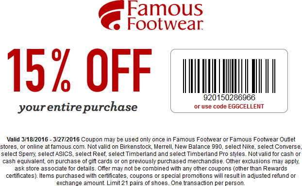 Famous Footwear Coupon October 2016 15% off at Famous Footwear, or online via promo code EGGCELLENT