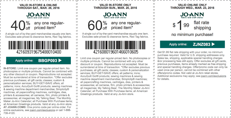 Jo-Ann Fabric Coupon January 2017 40% off a single item & more at Jo-Ann Fabric, or online via promo code BBGP093