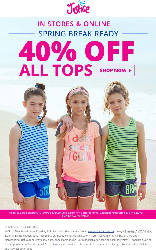 Justice Coupon December 2016 40% off tops at Justice, ditto online