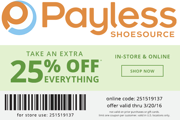 Payless Shoesource Coupon March 2017 25% off today at Payless Shoesource, or online via promo code 251519137