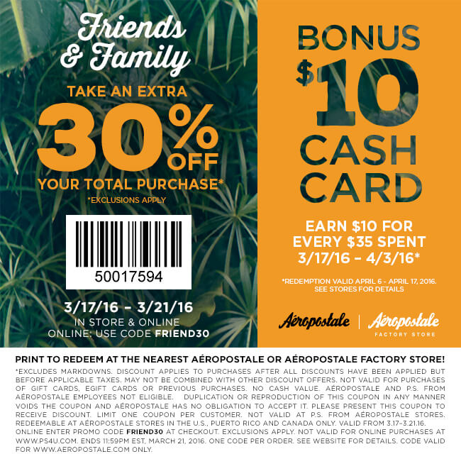 Aeropostale Coupon November 2018 30% off at Aeropostale, or online via promo code FRIEND30