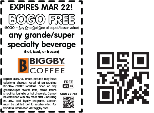 Biggby Coffee Coupon September 2018 Second beverage free at Biggby Coffee