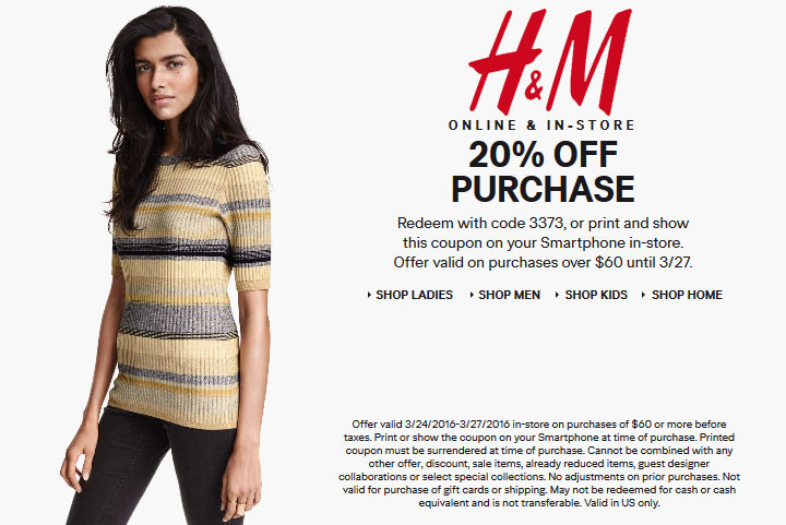 H&M Coupon March 2018 20% off $60 at H&M, or online via promo code 3373