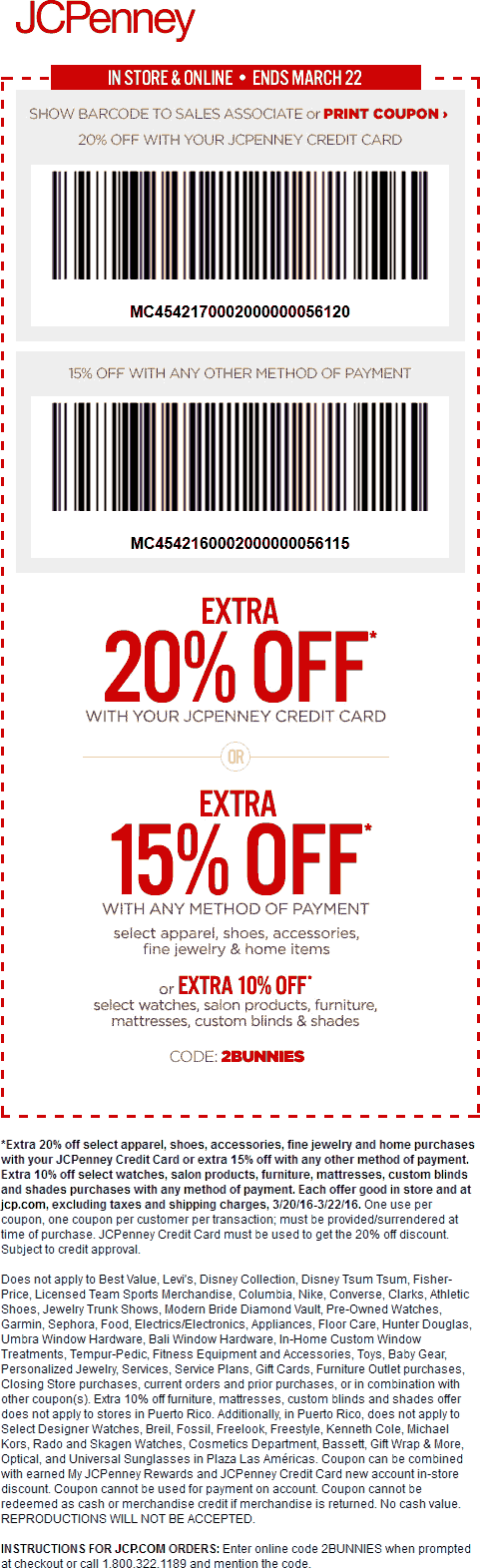 JCPenney Coupon September 2018 15% off at JCPenney, or online via promo code 2BUNNIES