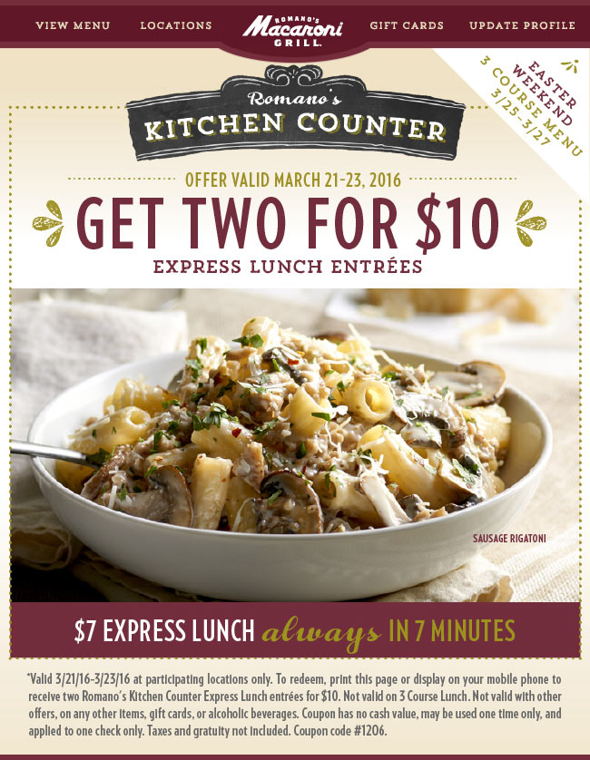 Macaroni Grill Coupon October 2016 Two lunches for $10 in 7minutes or free at Macaroni Grill restaurants