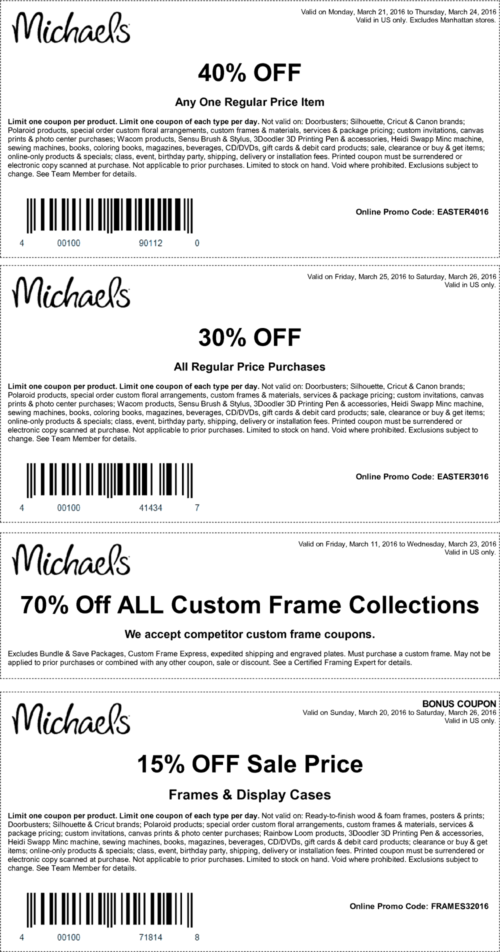 Michaels Coupon March 2017 40% off a single item & more at Michaels, or online via promo code EASTER4016