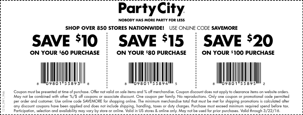 Party City Coupon May 2017 $10 off $60 & more at Party City, or online via promo code SAVEMORE