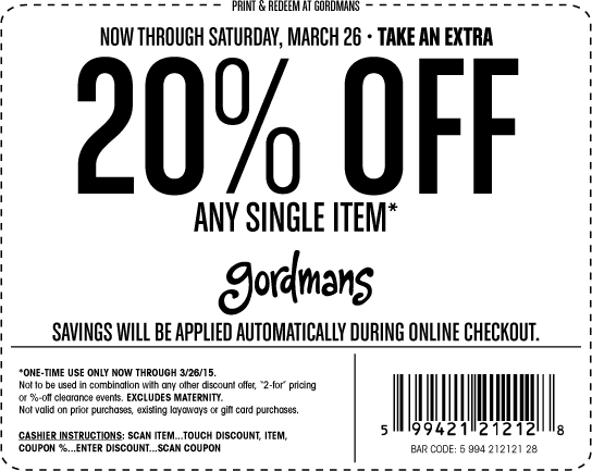 Gordmans Coupon March 2018 20% off a single item at Gordmans, ditto online