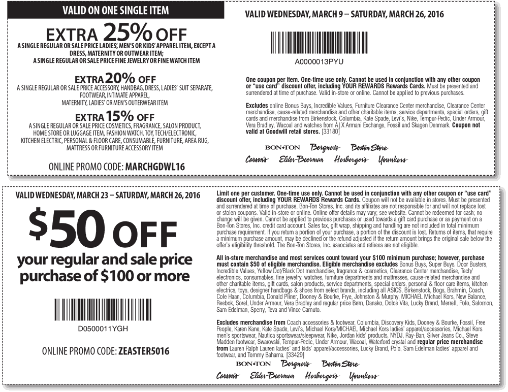 Carsons Coupon May 2018 $50 off $100 & more at Carsons, Bon Ton & sister stores, or online via promo code ZEASTER5016