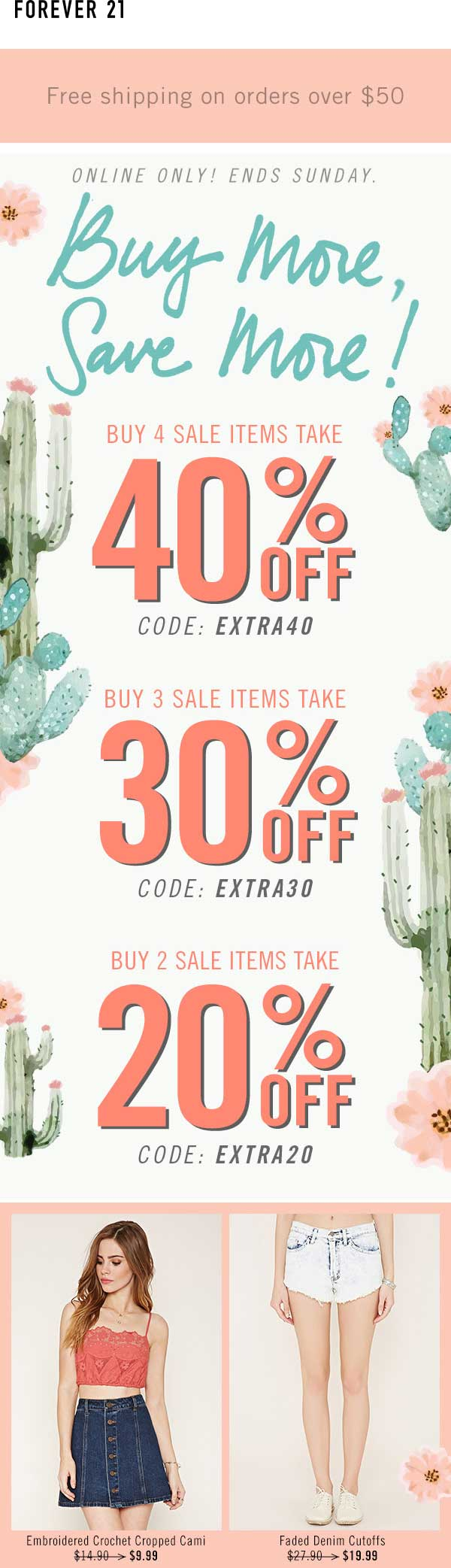 Forever 21 Coupon April 2017 20-40% off sale items online at Forever 21 via promo codes EXTRA20, EXTRA30 & EXTRA40