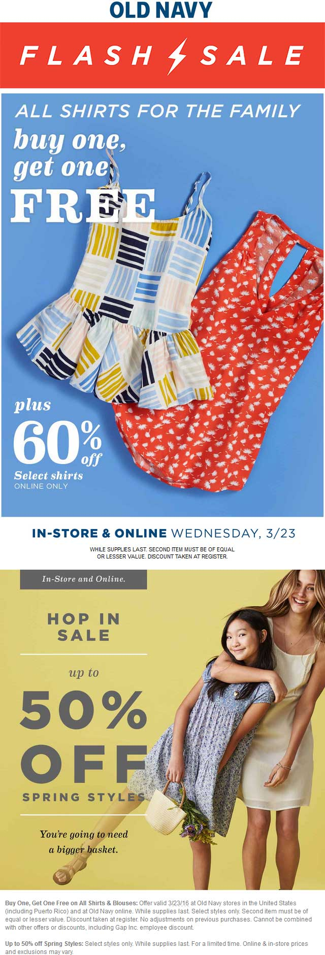 Old Navy Coupon January 2017 two-for-one shirts & more today at Old Navy, ditto online