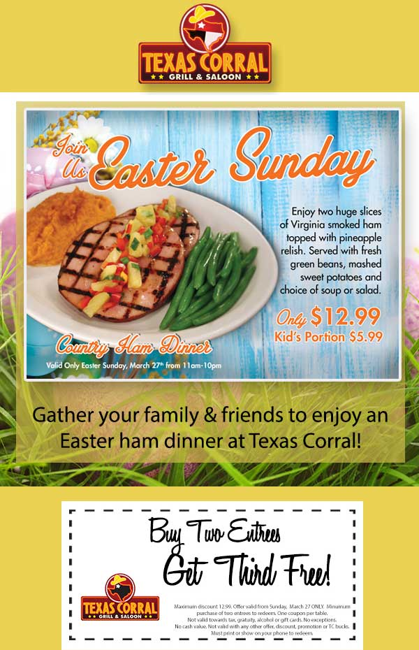 Texas Corral Coupon March 2018 Third entree free Sunday at Texas Corral grill & saloon