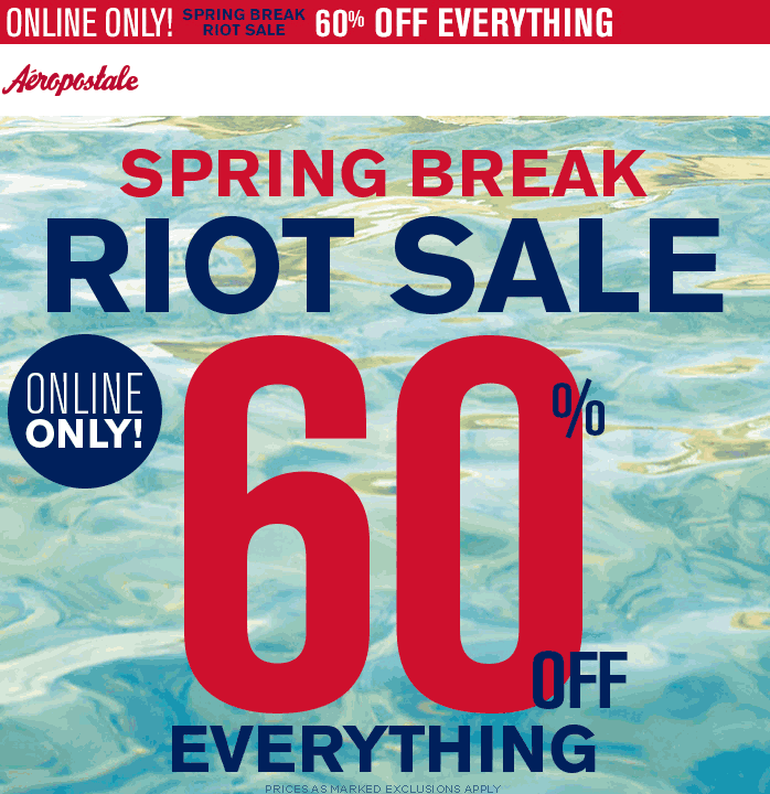 Aeropostale Coupon November 2017 60% off everything online at Aeropostale