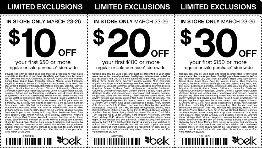 Belk Coupon January 2017 $10 off $50 & more at Belk, or online via promo code 86655001