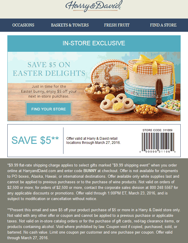 Harry & David Coupon March 2017 $5 off any order at Harry & David gift baskets