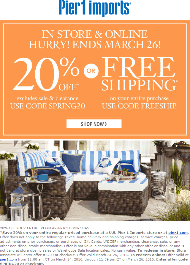 Pier 1 Coupon January 2019 20% off at Pier 1 Imports, or online via promo code SPRING20