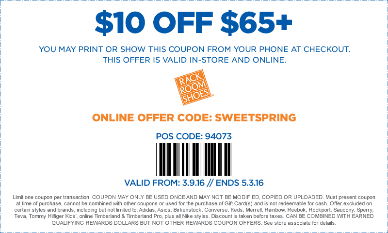 Rack Room Shoes Coupon January 2017 $10 off $65 at Rack Room Shoes, or online via promo code SWEETSPRING