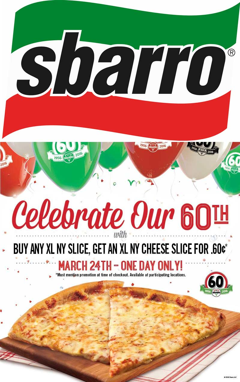 Sbarro Coupon July 2017 Second slice for .60 cents today at Sbarro pizza