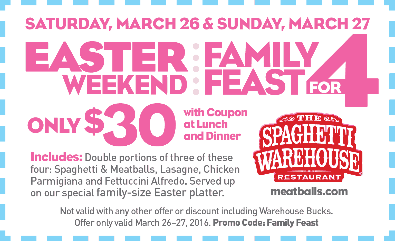 Spaghetti Warehouse Coupon May 2018 Family feast for 4 = $30 this weekend at Spaghetti Warehouse