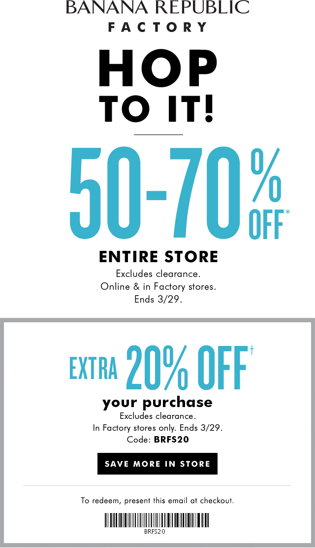 Banana Republic Factory Coupon August 2018 50-70% off everything & more at Banana Republic Factory, ditto online