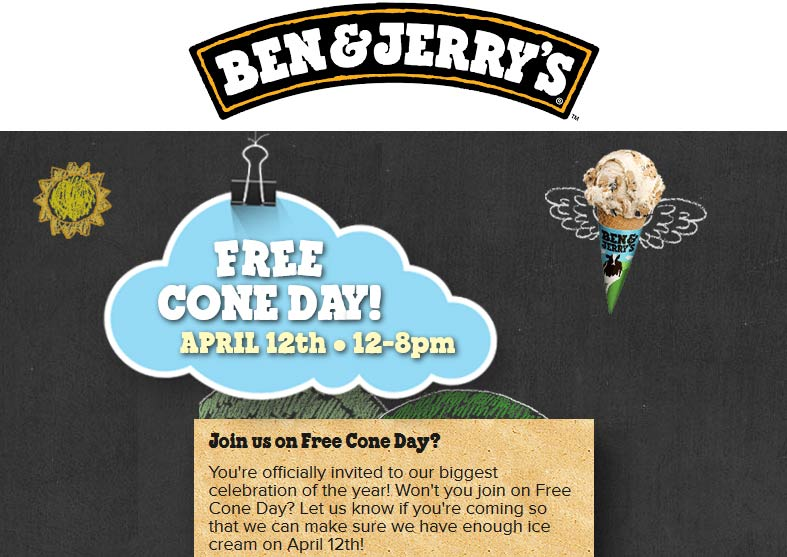 Ben & Jerrys Coupon March 2018 Free ice cream cone the 12th at Ben & Jerrys