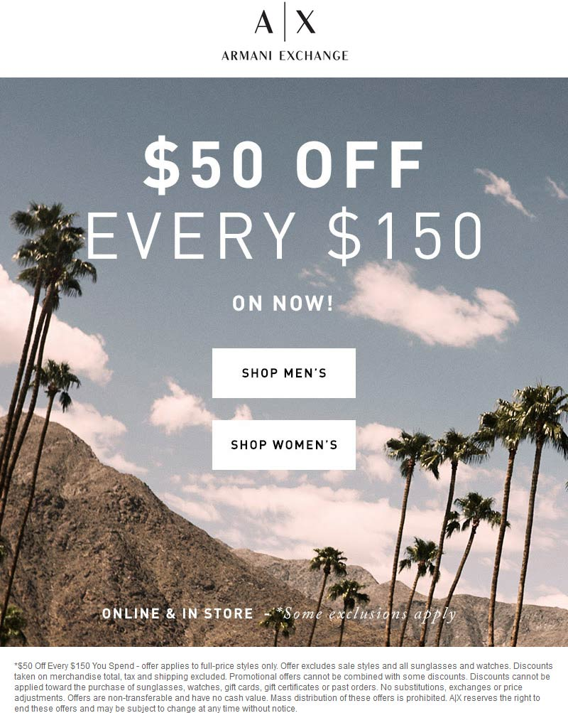 Armani Exchange Coupon December 2018 $50 off every $150 at Armani Exchange, ditto online