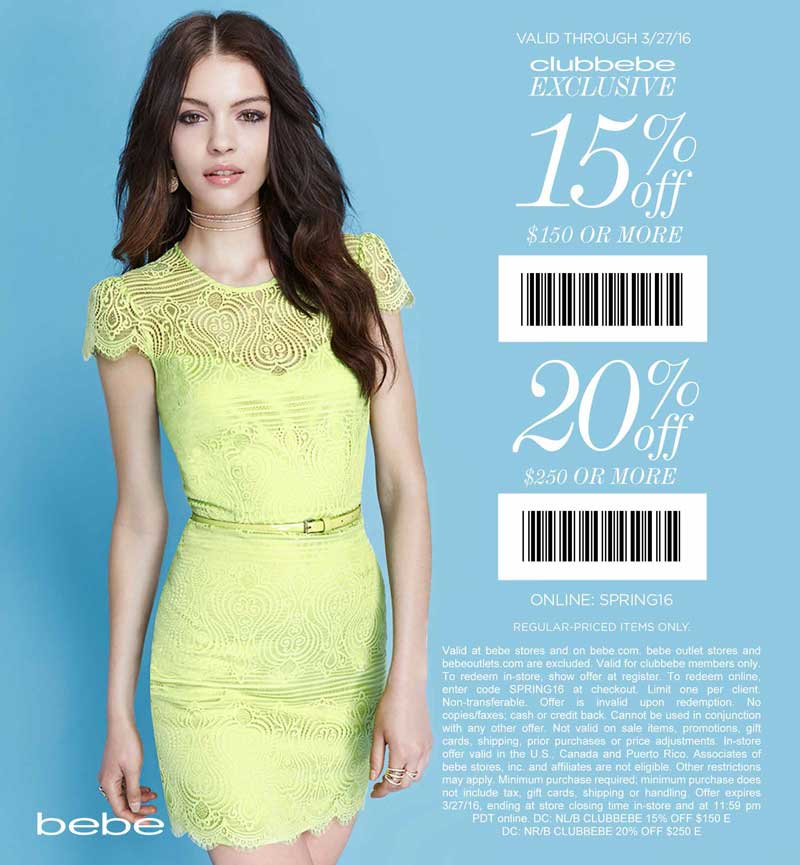 Bebe Coupon August 2017 15-20% off $150+ at bebe, or online via promo code SPRING16